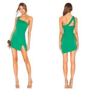 NBD x Naven Mona Asymmetric Dress Jelly Bean Green